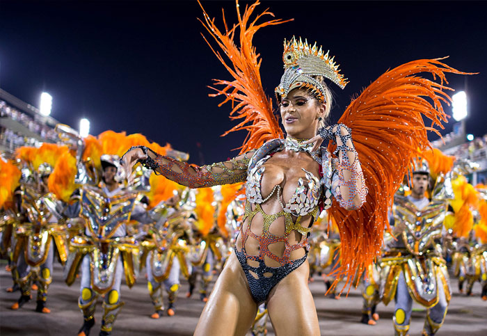 Brazilian Carnival female costume with feathers