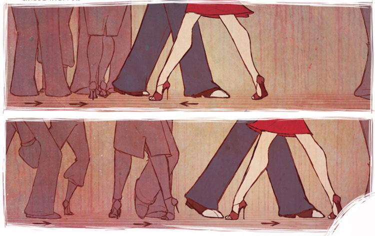 Cartoon leg movements and distance between couples in dance
