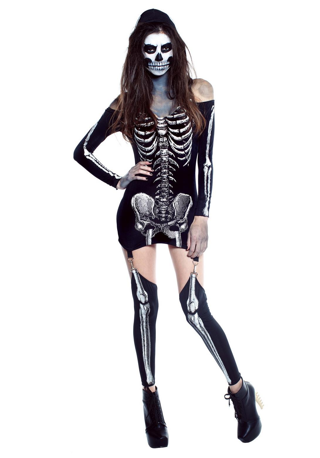 Sexy Womens X Rayed Skeleton Dress Costume