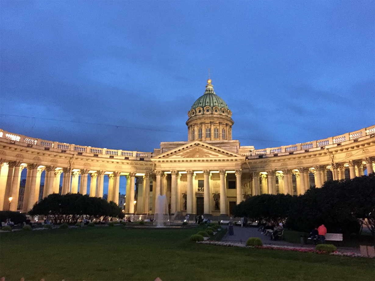 Kazan Cathedral has a very beautiful architecture and is related to the Orthodox Church. It contains the most venerated icon in Russia.