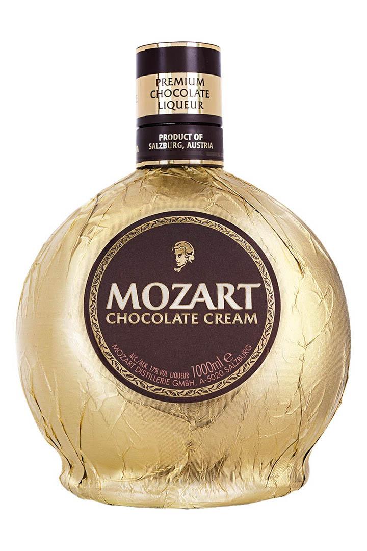 Chocolate cream liqeuer bottle with Mozart