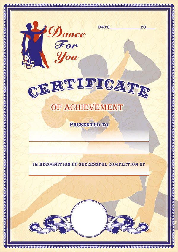 Certificate of achievement, dance school Dubai
